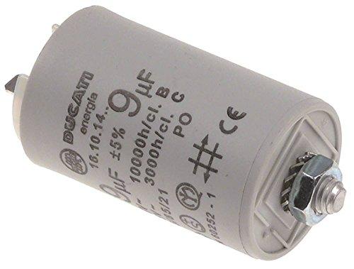 Cunill Betriebskondensator für Kaffeemühle Uganda-Automatic-Silencioso mit Kunststoffmantel 9µF 450V Toleranz ±5% Länge 60mm
