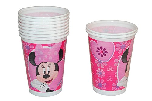 r Minnie Mouse Kinderparty Plastik Becher Pappbecher rosa Mädchen Disney Herz (Rosa Minnie Maus Dekoration)