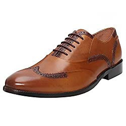BRUNE Tan Color 100% Genuine Leather Brogue Shoe For Men size-6