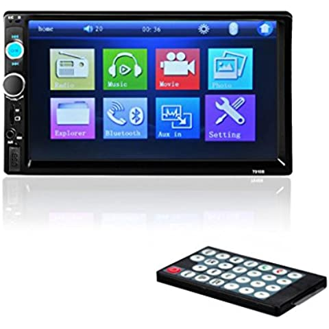 POTOBrand, 7'' HD Bluetooth pantalla coche estéreo Radio 2 DIN FM/MP5/MP3/USB/AUX tarjeta de ranura (hasta 32GB) colores