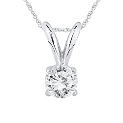 Women AGS Certified 1/4 Carat Round Diamond Solitaire Pendant in 14ct White Gold (K-L Color, I2-I3 Clarity)