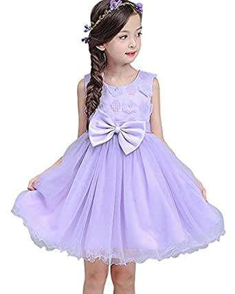 Girls Dress Purple Flower Bow Tie Party Kids Princess ...