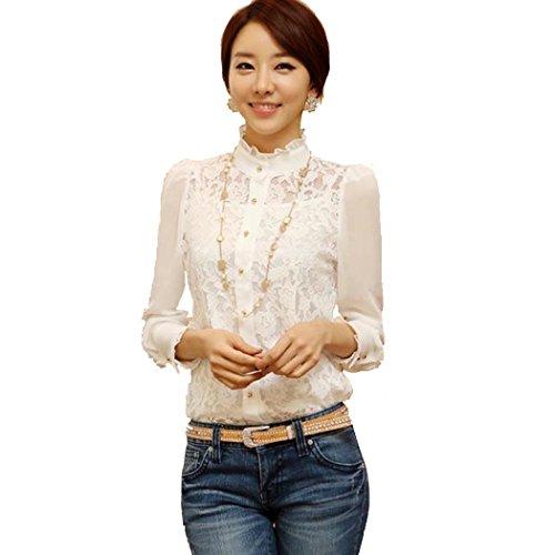 e Vintage Langarm-Tops Sheer Lace Hemd Chiffon-Bluse ()