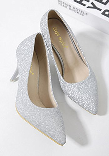 Aisun Femme Brillant Paillettes Stiletto Slip On Escarpins Argent
