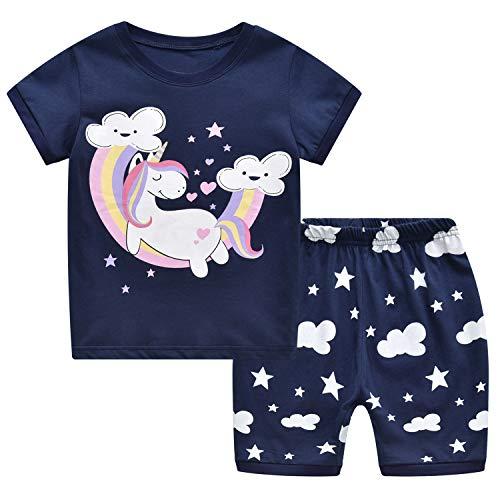 Tkiames Mädchen Pyjama Giraffe Langarm Baumwolle Schlafanzug Set Nachtwäsche Nachtwäsche Gr. 1-2 Jahre, Navy