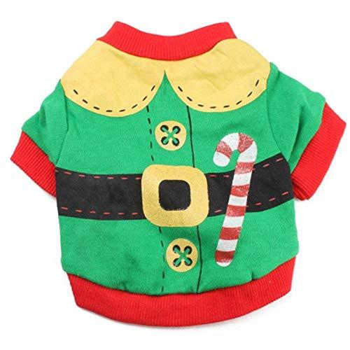 ZTMN Pullover Hund Hund Kleidung Baumwolle grün rot Rand gedruckt Krücken Haustier T-Shirt Teddy Kleidung Weihnachten Modelle. Kleidung für Hunde (Größe: M)