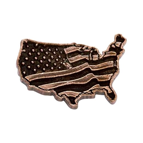 Kupfer ~ USA Kontinent mit Flagge groß ~ Anstecknadel/Brosche ~ AC171