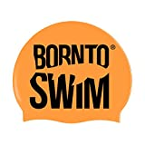 Bore NTO Swim Adolescents et Adultes de Natation en Neon Bonnet de Natation en Silicone avec Motifs de Requin M Leuchtend Orange/Schwarz