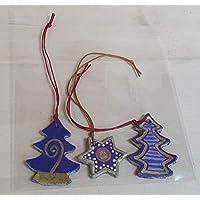 Christbaumschmuck, Weihnachten, Stern, Baum, Set 3 Stück, handbemalt