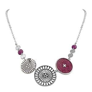 Skalli - SUB03 Prune Paillette - Sakura - Collier Femme - Laiton - Résine - 38 à 5 cm