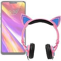 DURAGADGET Auriculares Plegables estéreo con diseño de Orejas de Gato en Color Rosa para Smartphone LG