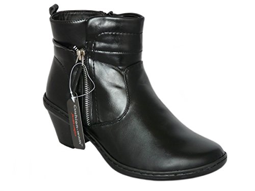 b007a17af53 Cushion Walk Women s Black Faux Leather Cuban Heel Ankle Boots with Zip.