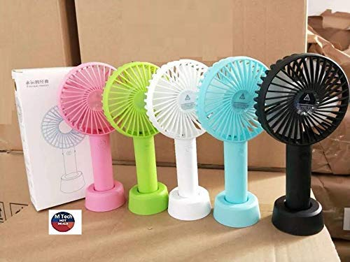 M Tech Portable Mini USB Rechargeable and Battery Fan (Color may vary, Small)