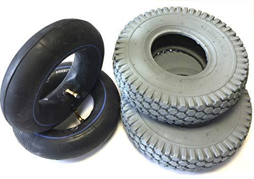 Rollstuhlreifen 2 Stück 4.10/3.50-6 grau + 2 Stück Schlauch Winkelventil, Reifen kräftiges Blockprofil, Stabiler 4 PR Reifenaufbau - 3-rad-rollstuhl