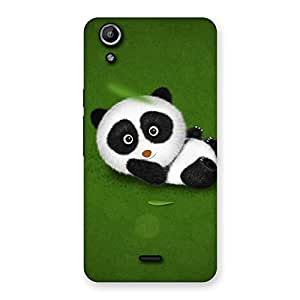 Premium Panda Green Grass Back Case Cover for Micromax Canvas Selfie Lens Q345
