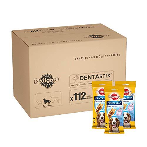 Pedigree DentaStix Zahnpflege Hundeleckerli für mittelgroße Hunde, Kausnack mit Huhn- und Rindgeschmack - Pedigree Dentastix