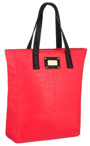 EyeCatchBags - Maribel Damen Kunstleder-Tasche Handtasche Schultertasche Rot