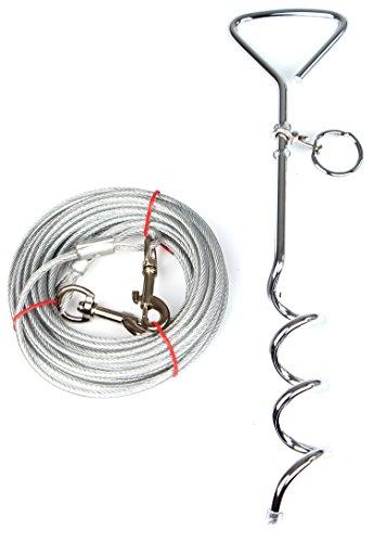 Dog Stake mit Bond-Out-Kabel, Dog Stake Yard für kleine mittlere oder große Hunde Spielen, 33ft Kabel 18inch Hund Stange (Tie-out-kabel Hund Großen)