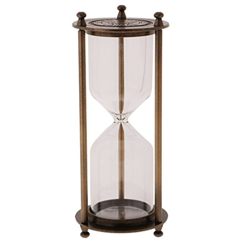 Sharplace Retro Leere Sanduhr Teeuhr Sandglass mit Metallrahmen Ohne Sand - Beste Haus Oder Bürodekoration - Bronze - L, 8 x 21 cm