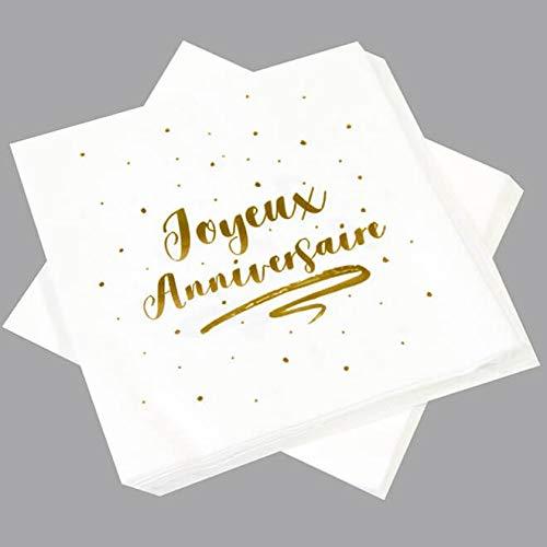 HOBI Serviette de Table Anniversaire Blanche et dorée (x20) REF/JET005
