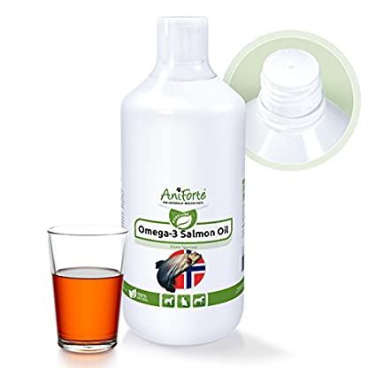 AniForte Premium Salmon Oil for Dogs, Cats, Horses & Pets 1L, 100% Natural Norwegian Fish Oil with Omega, 3 High Level… 1