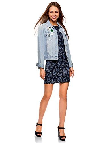 oodji Ultra Damen Jerseykleid mit Druck Blau (7975E)