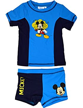 Official Mickey Mouse 2 Piezas Swim Suit Disney Swimming Beachwear Short Shirt Set Boy's niños Mangas Cortas