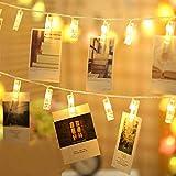 GoodGoodday LED Lichterkette, LEDs Foto Clip Lichterketten, Warmweiß Dauerlicht für Bilderrahmen Collagen Karten Hängen, Stimmungsbeleuchtung für Wohnzimmer, Schlafzimmer, Hochzeiten