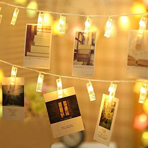 Stringa luci led, foto clip stringa illuminazione, luci decorative bianco caldo, immagine attaccatura e decorazione tabella foto per natale