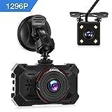 Autokamera Full HD 1296P, Rectangle Dashcam mit 170° + 140 ° Weitwinkel, 3.0 Zoll LCD Display, IR Nachtsicht, WDR, G-Sensor, Bewegungserkennung, Parküberwachung & Loop Aufnahme