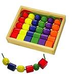 Sapin Malin SM50544 - Loisir Créatif - Boîte 30 Très Grosses Perles Bois + 2 Lacets