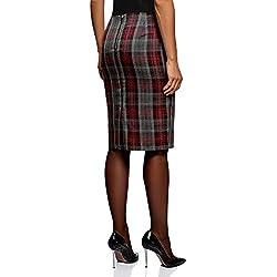 oodji Collection Mujer Falda con Abertura Trasera, Gris, ES 38 / S