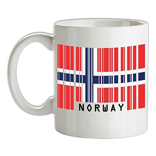 Norway / Norwegen Barcode Flagge - Bedruckte Kaffee- und Teetasse