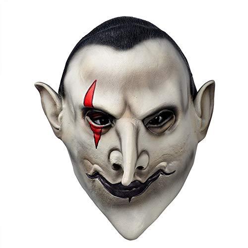 Shuzhen,Horror Devils Latex Scary Maske Earl of Hell Gesicht Vampir Bloodsucker Halloween Maskerade Wimperntusche Terror Cosplay(Color:COLORMIX)