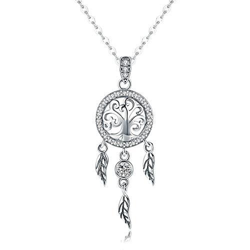 Árbol de la vida atrapasueños auténtica plata de ley 925 árbol de la vida moda atrapasueños colgantes collares para mujer plata de ley joyas