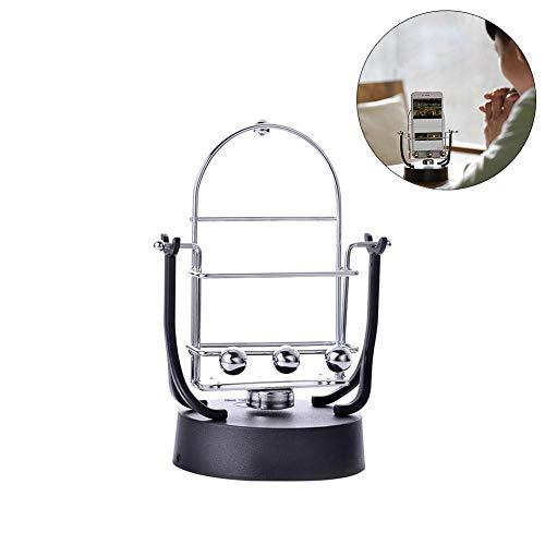 heresell Newton's Cradle Desk Toys Rocker - Machine de Mouvement perpétuel électronique à Boule de Balancement rotative 19 10.8cm