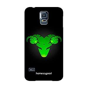 HomeSoGood Aries Zodiac Sign Black 3D Mobile Case For Samsung S5 ( Back Cover)