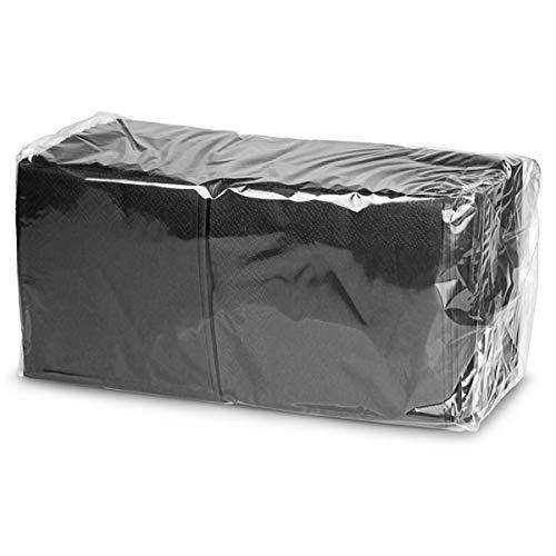 Lot de 250 serviettes à cocktail en papier double épaisseur, noires, 24 cm, pour distributeur de serviettes en papier de bar