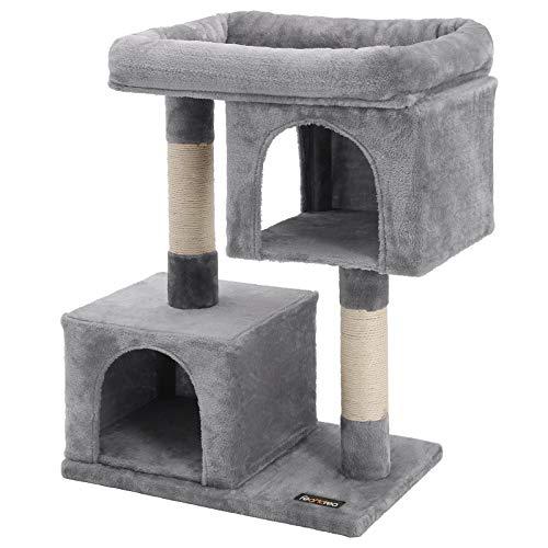 FEANDREA Árbol para Gatos, Rascador para Gatos, Columnas Recubiertas de Sisal para Gatos, Gris Claro PCT61W