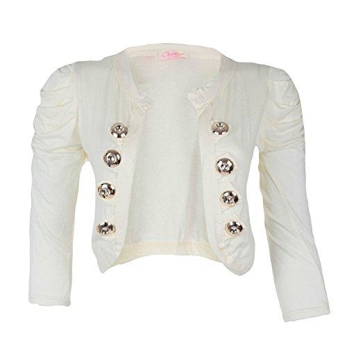 Nouveau femmes ruché épaules 8Button Blazer Crop Top haussement d'épaules veste Crème