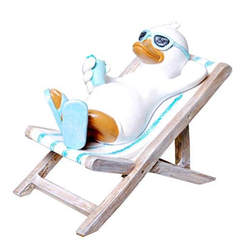 Preis am Stiel Bade-Ente im Liegestuhl | Badezimmer | Sonnenbrille | Entenfigur | Dekofigur | Duschdeko | Ente | Sonnenliege | Flip Flop