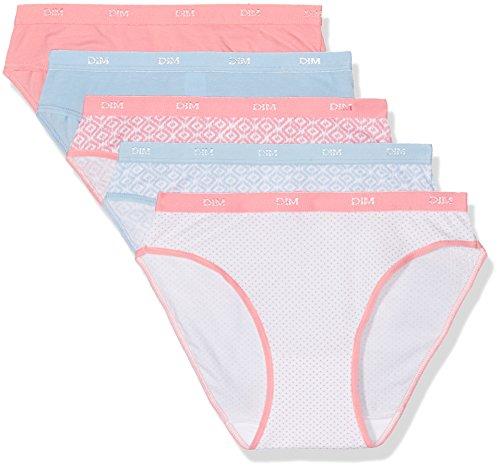 dim-les-pockets-coton-slip-lot-de-5-femme-multicolore-ethnique-pois-fr-36-taille-fabricant-36-38