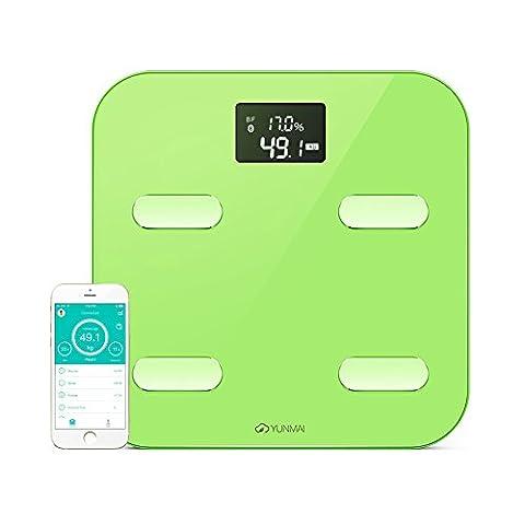 YUNMAI Color Pèse-personne Numérique avec Bluetooth - Balance de Salle de Bain Connectée LCD de Précision - Mesure10 Données Dorporelles,Vert