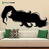 yaoxingfu Cabello Largo Chica Tatuajes de Pared Peinado Salón de Belleza Peluquería Vinilo Sticker Dormitorio Decoración para el hogar Cartel de la Pared Murales de Arte119x56 cm