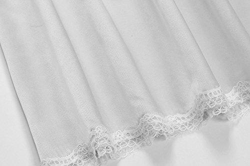 Untlet Damen Satin Lingerie Dessous Lang Rock mit Spitzensaum Unterrock Einfarbig Grau