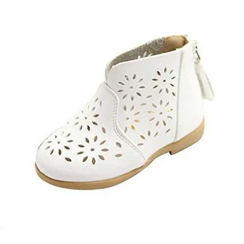 Saingace Été Enfants Filles Mode Creux Haute Couper Appartement Princesse Chaussures (5.3inch/6mois-1ans, Rouge) Blanc