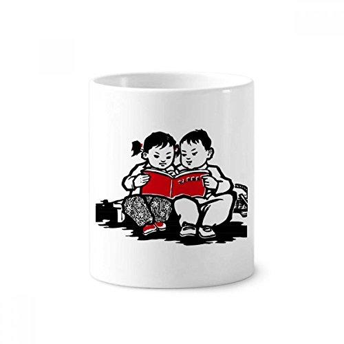 DIYthinker Jungen-Mädchen-Bank Buch Patriotismus China Keramik Zahnbürste Stifthalter Tasse Weiß Cup 350ml Geschenk 9.6cm x 8.2cm hoch Durchmesser
