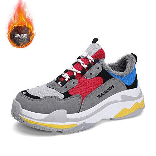 Na-Zh Scarpe da Tennis da Uomo Scarpe Casual alla Moda Super Fuoco Inverno Vecchie Scarpe Calde,Grigio Rosso, 43