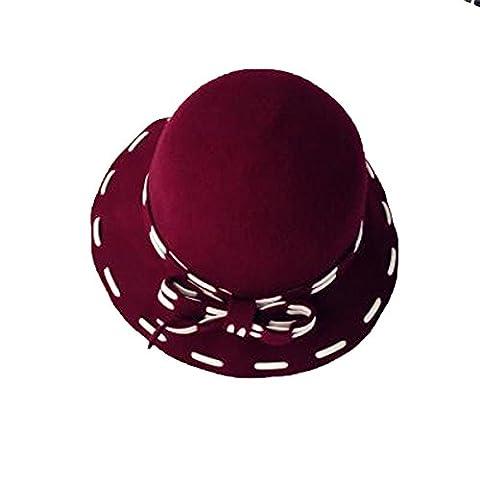 Femmes Mode Automne Trilby Hiver En Laine Fedoras Retro Bowler Hat Avec Bowknot,Red-M