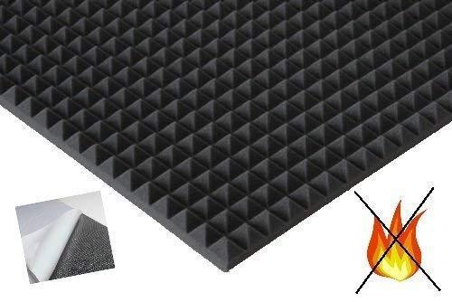lulushop Pyramiden-Schaumstoff-Daemmung-platten Dämmung Schaumstoff SELBSTKLEBEND Akustik Flammhemend PC ca.100 x 50 x 3 cm Anthrazit/Schwarz